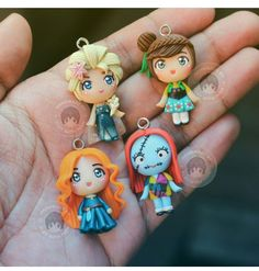 First four items that have been sold from my Etsy store, ClayWithFernOfficial. Sally will go to France however Elsa, Anna and Merida will go to USA. Thank you guys for your support, ily all! Polymer Clay Disney, Cute Polymer Clay, Cute Clay, Polymer Clay Miniatures, Fimo Clay, Polymer Clay Projects, Polymer Clay Charms, Polymer Clay Creations, Clay Crafts