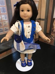 """Blue and ecru dress, doll clothes, 18"""" doll clothes, American Girl doll clothes, 5 piece outfit, bright blue shoes, handbag, hair bow by MorgansCloset16 on Etsy"""