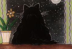 CAT ACEO Black Cat Midnight  - by Pryjmak