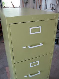 instructions on how to repaint a metal file cabinet using a roller