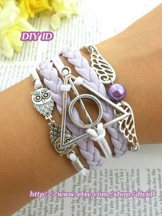 Harry potter bracelet Silver angel wings bracelet owls bracelet purple leather white wax rope bead bracelet multilayer bracelet jewelry B177...
