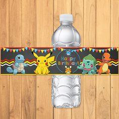 Pokemon Drink Label Chalkboard * Pokemon Water Bottle Label * Pokemon Birthday * Pokemon Printables * Pikachu Party * Pokemon Party Favors by SometimesPie on Etsy https://www.etsy.com/listing/236034288/pokemon-drink-label-chalkboard-pokemon