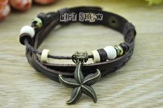 cuff leather bracelet  Retro bronze Starfish charm by GiftShow, $2.50 Fashion handmade leather bracelet crafted personality,best friendship gift.