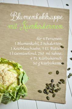 Rezept für Blumenkohlsuppe mit Kürbiskernen (www.rheintopf.com) #rezept #recipe #food