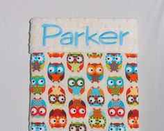 Baby Blanket - Bright Owls by Alice Kennedy in Cream