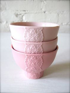 Set of 3 Pink Pink Pink Porcelain Lace Bowls by Hideminy