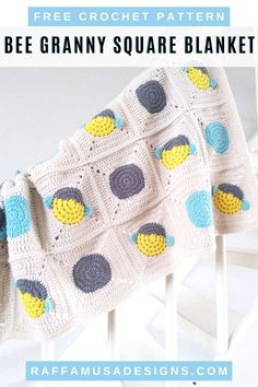 The Bee Granny Square Baby Blanket is the sweetest yarn cuddle for your little one. Tap on the image to get the free crochet pattern for this cute baby blanket. Made with bee and simple circle afghan blocks, you can fully customize your size and blanket design. #paintboxyarns #bee #beehive #babyshower #nursery #decor #throw #receiving Granny Square Blanket, Granny Square Crochet Pattern, Crochet Blanket Patterns, Baby Blanket Crochet, Crochet Afghans, Afghan Patterns, Crochet Blankets, Crochet Granny, Granny Squares