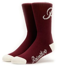 Rep a classic style with the Primitive Classic P burgundy and white socks. These dark red Primitive socks have a white Classic P at the ankle with a white Primitive text at the foot bottom, and a blended construction that are great for skating around or j