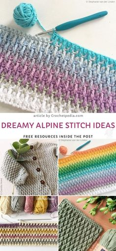 Dreamy Alpine Stitch Ideas from Crochetpedia Stunning and Easy Crochet Stitches. Article by Crochetpedia is full of useful informations on how to approach learning this stunning technique! Alpine stitch is perfect for blankets and. Crochet Simple, Easy Crochet Stitches, Crochet Blanket Patterns, Stitch Patterns, Knitting Patterns, Knitting Ideas, Simple Knitting, Baby Blankets, Knitting Stitches