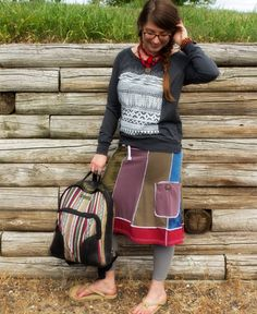Organic #Patchwork Skirt with pocket and a coconut button :)