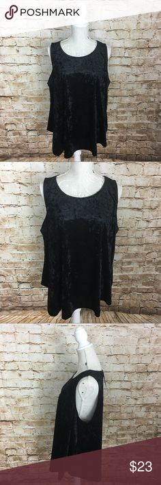 Rue 21 black velvet tank 2X Measurements laying flat in inches. Bust 20.5, shoulder 13, length 27. 90 Polyester 10 spandex. NWT 2X Rue21 Tops Tank Tops