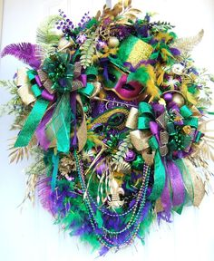 Outstanding Unique Mardi Gras door wreath