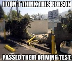 I Don't Think This Person Passed Their Driving Test Funny Car Crash Funny Quotes, Funny Memes, Hilarious, Jokes, Funny Cars, Smiles And Laughs, Just For Laughs, Really Funny, The Funny
