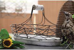 """18"""" Wire Basket w/ Terracotta Base on OneKingsLane.com"""