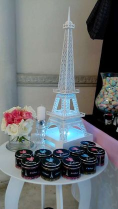 Eiffel Tower decor at a Paris birthday party! See more party ideas at CatchMyParty.com!
