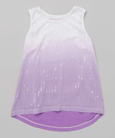 Look at this Amethyst & White Ombré Hi-Low Tank - Girls on #zulily today!