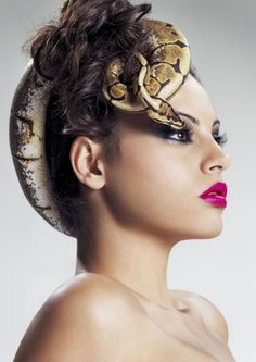 greece next top model beauty shot with snakes