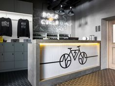 Music and motion define nightclubs. For two cycling studios in Russia, Tochka Design Studio was inspired by that energy. Velo Shop, Mountain Biking, Bicycle Store, Bike Magazine, Bike Room, Gym Design, Bike Art, Shop Interiors, Concrete Walls