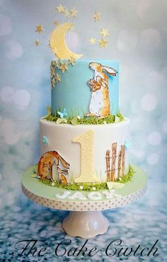 Guess Hiw Much I Love You Cake. I love this book and this cake. 1st Birthday Cake For Girls, Special Birthday Cakes, 1st Birthday Cakes, Birthday Ideas, Birthday Parties, Rodjendanske Torte, Peter Rabbit Cake, Fondant, Painted Cakes