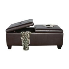Best Selling Home Decor Alfred Brown Rectangle Storage Ottoman 284423 Cottage Chic Living Room, Living Room Furniture, Home Furniture, Storage Ottoman Coffee Table, Modern Ottoman, Furniture Direct, Leather Ottoman, Bonded Leather, Storage Spaces