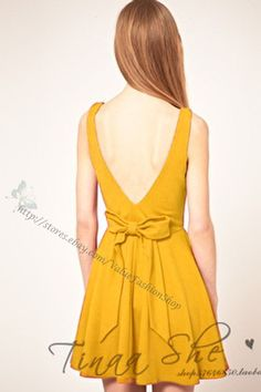 Open Back Bowknot A Line Dress $18