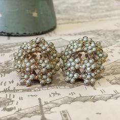 ⚡️⚡️FLASH SALE⚡️⚡️ Mint Green Floral Cluster & Crystal Stud Earrings.  Romantic and elegant! Great for a summer dress or simple black dress.  Not sure of the brand.  Excellent condition. Jewelry Earrings