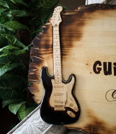 Pyrography Guitar Signs Custom Wood Burning by RozEmazingDesigns