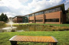 View of the offices across the water at Croxley Park. The Office, Offices, Mansions, Park, House Styles, Water, Outdoor Decor, Home Decor, Mansion Houses