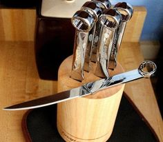 [Cool Stuff Man Cave Pics Custom Handmade Knives Cocobolo Santoku] knives and swords chef modern man kitchen tools men stuff Cool Knives, Knives And Swords, Unique Knives, Man Cave Garage, Garage Bar, Knife Sets, Knife Making, Inspired Homes, Knife Block