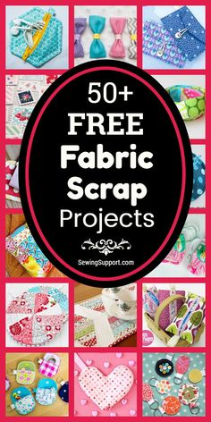 Free Fabric Scrap Projects Sewing projects using Fabric Scraps. Over 50 free fabric scrap sewing projects, diy tutorials, and patterns. Scrap Fabric Projects, Small Sewing Projects, Sewing Projects For Beginners, Fabric Scraps, Sewing Crafts, Crafts With Fabric, Sewing Machine Projects, Diy Crafts, Fabric Remnants