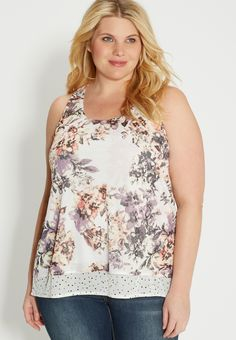 plus size layered tank in floral and dot print (original price, $34.00) available at #Maurices