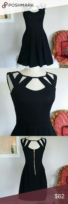 Betsey Johnson Cutout Dress Size 2 Euc very gently worn, no fading, super beautiful  Fit n Flare  Zip back  Semi stretchy thick material Betsey Johnson Dresses