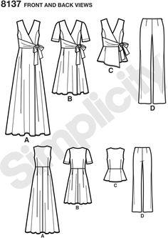 Simplicity 8137 7 plus size slå-om kjoler, top og bukser   FJØLNER