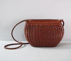 vintage leather italian made WOVEN purse by secretlake on Etsy