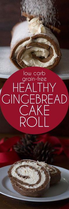 This keto Gingerbread Cake Roll is the low carb holiday dessert of your dreams! LCHF THM Banting Atkins Recipe. Grain-free too!