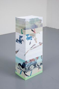 Aleksandra Domanovic 'Untitled (mash-up),' 2012 Stack of A4 paper (9,000 pages), inkjet print The paper-stack sculptures under the title, 'Untitled (mash-up)', are assemblages from previous stacks - deconstructed and opened-up.
