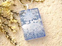 Tree of Life Necklace Blue Necklace Fused Glass by ccvalenzo