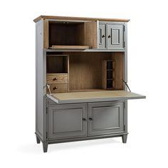 alderson computer cabinet with oak top in blackened honey
