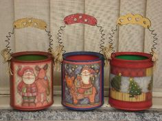 Discover recipes, home ideas, style inspiration and other ideas to try. Recycle Cans, Diy Cans, Tin Can Crafts, Crafts To Make, Mod Podge On Wood, Decoupage Jars, Tin Can Art, Burlap Stockings, Country Paintings