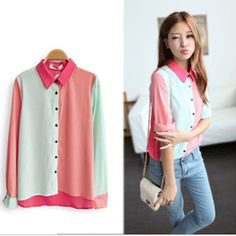 Fashion Womens Block Color OL Lapel Long Sleeve Chiffon Button Shirt Blouse Tops   eBay