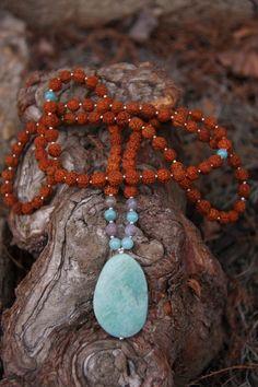 Amazonite Rudraksha Mala Mediation Inspired Yoga by malasanmore, $40.00