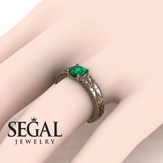Vintage Engagement Ring by Segal Jewelry Unique Solitaire Engagement Ring, Engagement Ring For Her, Antique Engagement Rings, Antique Rings, Green Emerald Ring, Blue Sapphire, Stylish Rings, Wedding Rings Vintage, Vintage Rings