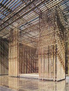 Bamboo wall : Great (Bamboo) Wall, village SOHO, Badaling, north China (2001-2003) | Kengo Kuma
