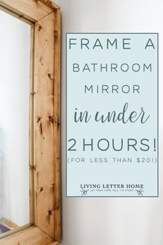 How to frame bathroom mirror FOR CHEAP in under 2 hours! Bathroom Mirrors Diy, Bathroom Mirror Makeover, Bathroom Ideas, Framing Mirror In Bathroom, Small Bathroom, Master Bathroom, Tile Bathrooms, Restroom Ideas, Mirror House