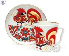 Lomonosov Porcelain Red Rooster Mug and Saucer