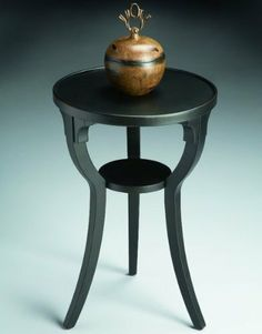 """Butler Round Accent Table Black Licorice - 1328111 by Butler. Save 21 Off!. $159.00. Black finish. Three legs. Color: Black Licorice. Round shape. Size: 24""""H x 16""""W x 16""""D. 1328111 Features: -Lower accessory shelf. Construction: -Constructed of select solid woods and choice cherry veneers. Color/Finish: -Round accent table. Collection: -Black Licorice collection."""