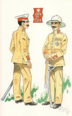 GUARDIA COLONIAL DE GUINEA. Sobre 1912.  Teniente en uniforme de diario - Comandante en uniforme de gala en formación.