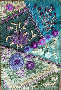 Crazy quilting embellished with beautiful embroidery by maureen Crazy Quilting, Patchwork Quilting, Crazy Quilt Stitches, Crazy Quilt Blocks, Quilt Stitching, Quilting Ideas, Hand Stitching, Silk Ribbon Embroidery, Embroidery Stitches