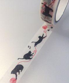 Japanese Washi Tape Playful Cat Red by PasoKuma on Etsy