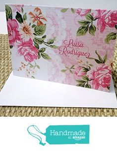 Personalized Floral Stationery Set, Personalized Note cards, Personalized Thank you cards, Set of 12 folded note cards and envelopes. from Mis Creaciones by Patricia Chalas http://www.amazon.com/dp/B01DOVJDBI/ref=hnd_sw_r_pi_dp_RoM.wb1JG3KFY #handmadeatamazon
